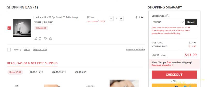 Настольная лампа Zanflare HZ - X8 за $13.99