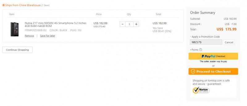 Акции и купоны: Смартфон Nubia Z17 mini 4Gb/64Gb за 5.99 с купоном NBZ17S