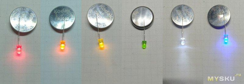 Набор светодиодов 3мм, 6 цветов по 100 штук