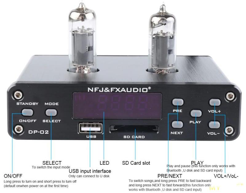 FX-Audio DP-02 Ламповый пред с плеером USB/SD и Bluetooth