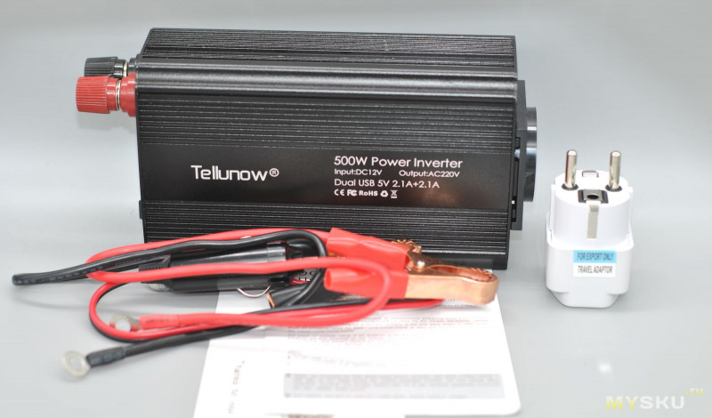 Инвертор Tellunow 12→220 В в авто 500 Вт