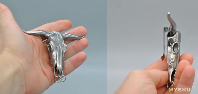 Микро нож Череп быка и Тактический крест.  Два лота отборной дичи