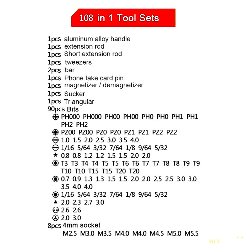 Набор: отвертка + биты BDCAT Drop 108 предметов за US $9.25