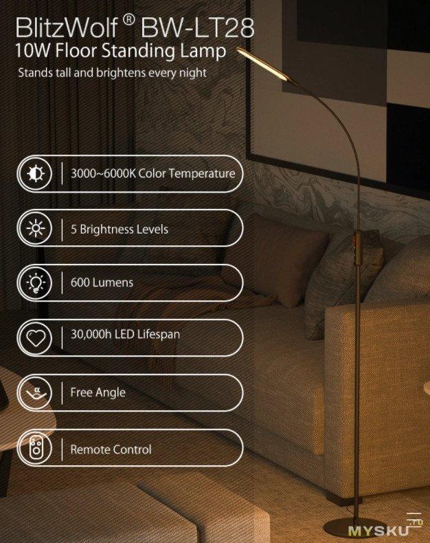 Напольная лампа BlitzWolf BW-LT28 10 Вт за .99