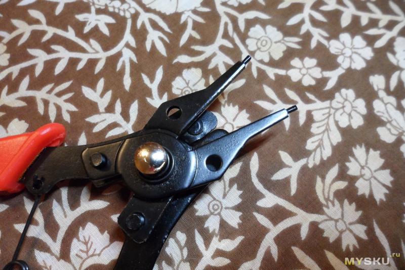 Универсальный съемник (щипцы) стопорных колец со сменными насадками