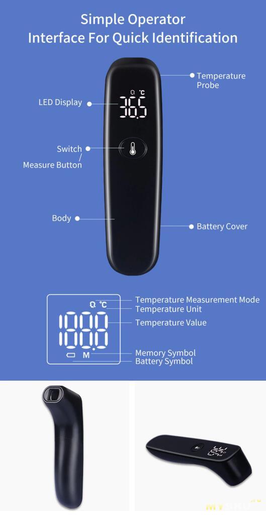 Бесконтактный термометр Xiaomi iHealth T09 за $8.99