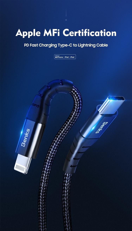 Сертифицированный MFI кабель Type C to Lightning. Benks m11. Цена 14.90$