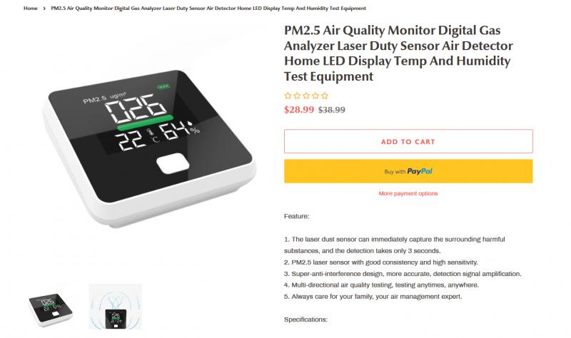 Портативный анализатор воздуха Xiaomi Smartmi PM2.5 Air Detector  Цена 28.99$