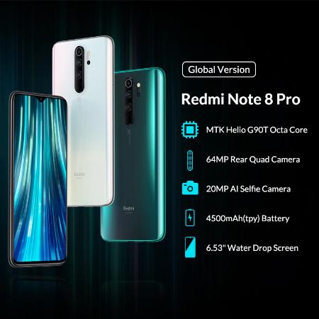Смартфон Xiaomi Redmi Note 8 Pro глобальная версия 6+128GB Цена 209.76$/210.90$ (Синий/Зеленый)