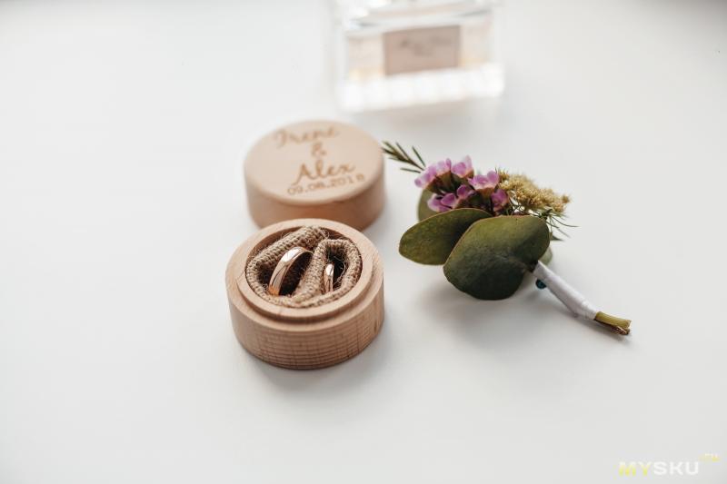Коробочка для обручальных колец с индивидуальной гравировкой