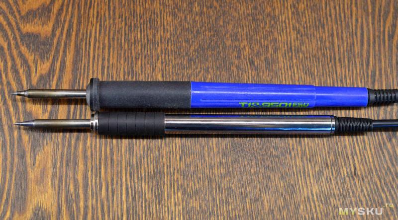 Стальная ручка 9501 для паяльной станции на жалах T12   Сравнение с народной синей ручкой FX-9501