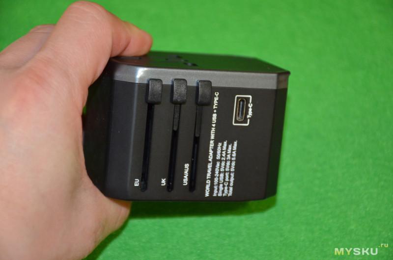 Мощный и универсальный туристический адаптер (4 USB 2.4A Port + Type-C) с вилками EU/UK/US/AU