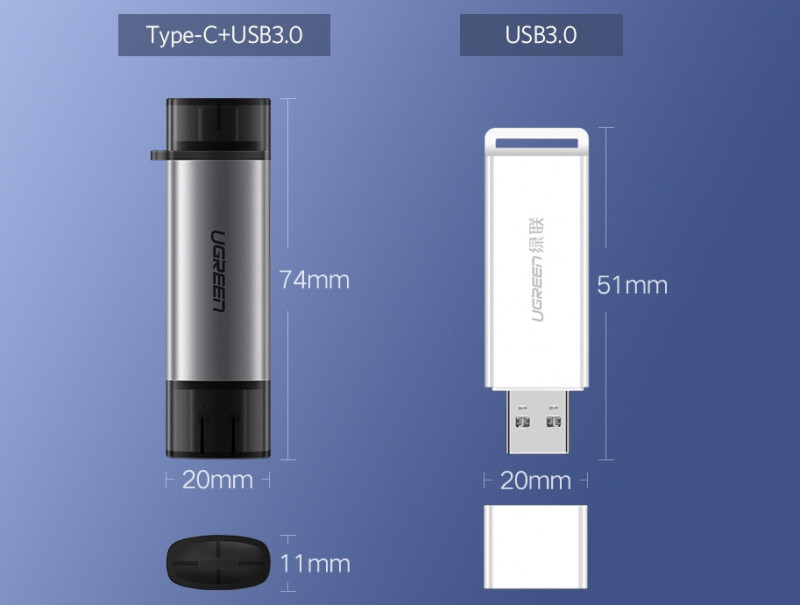 OTG-USB 3.0 кардридер SD/MicroSD с целью резервного/мобильного доступа к картам памяти