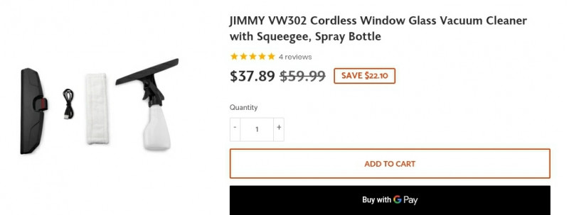 Аккумуляторный мойщик для окон Xiaomi Jimmy VW302 ($37.89)