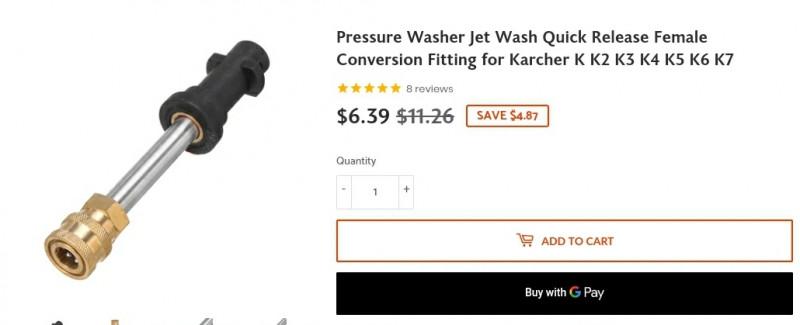 Хороший адаптер для Karcher ($6.39) и насадка с соплами для мойки ВД ($11.69)