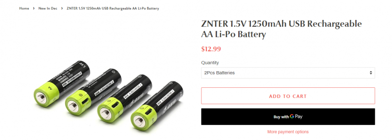 Отличная цена на аккумуляторные батарейки SORBO/ZNTER (Li-on1.5V), типоразмеры АА и ААА, от $13.99 за 4 шт