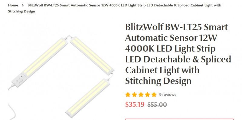 Отличная смарт-подсветка для мебели BlitzWolf BW-LT25 ($29.92)