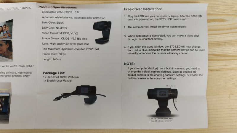HXSJ S70: неплохая веб камера с автофокусом и FullHD 30FPS
