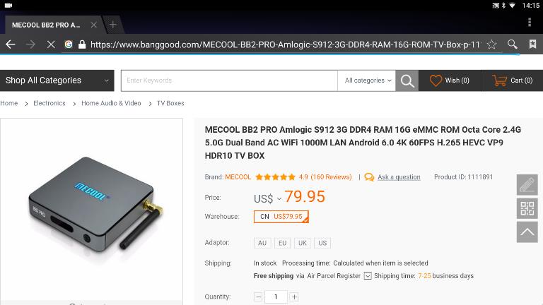 Очень годный и толковый ТВ-бокс MECOOL BB2 PRO, S912 + память DDR4.