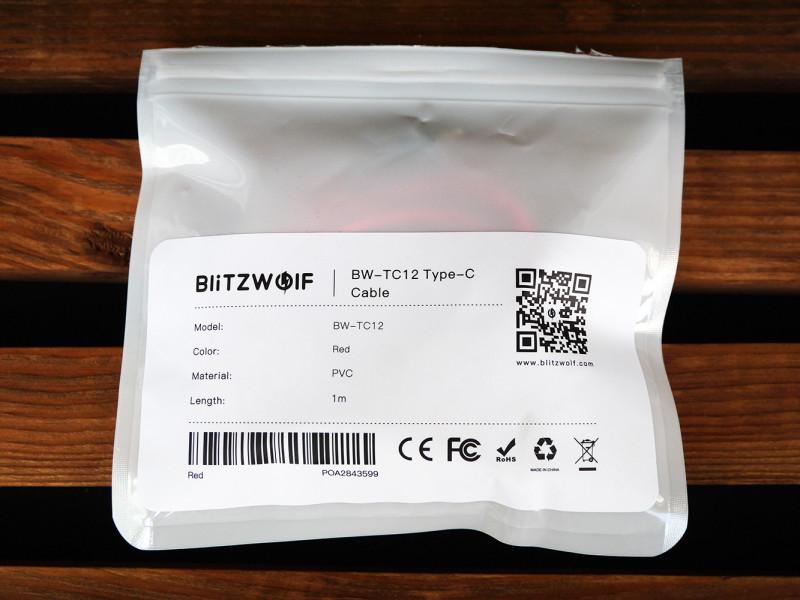 Banggood: Кабель BlitzWolf AmpCore Ⅱ BW-TC12 3A USB Type-C