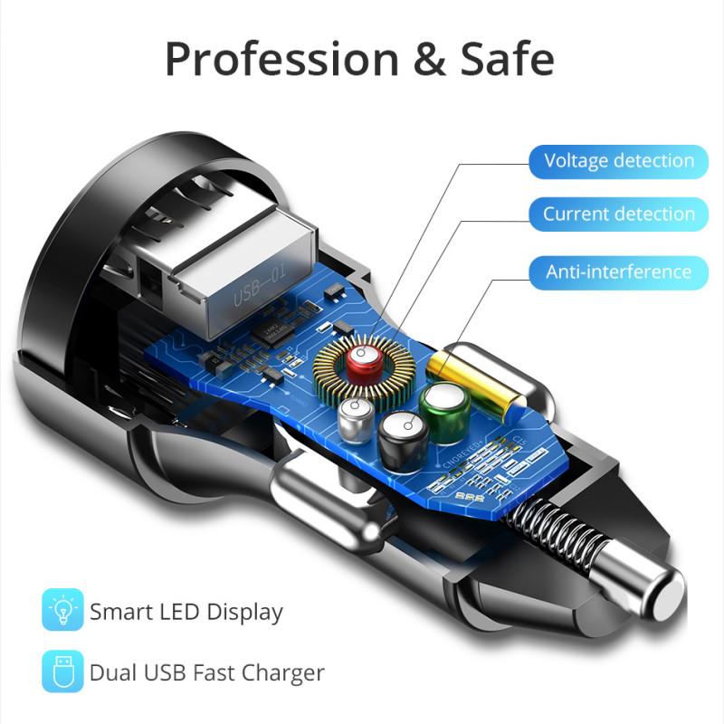 AliExpress: Автомобильное зарядное устройство TORRAS + USB кабель