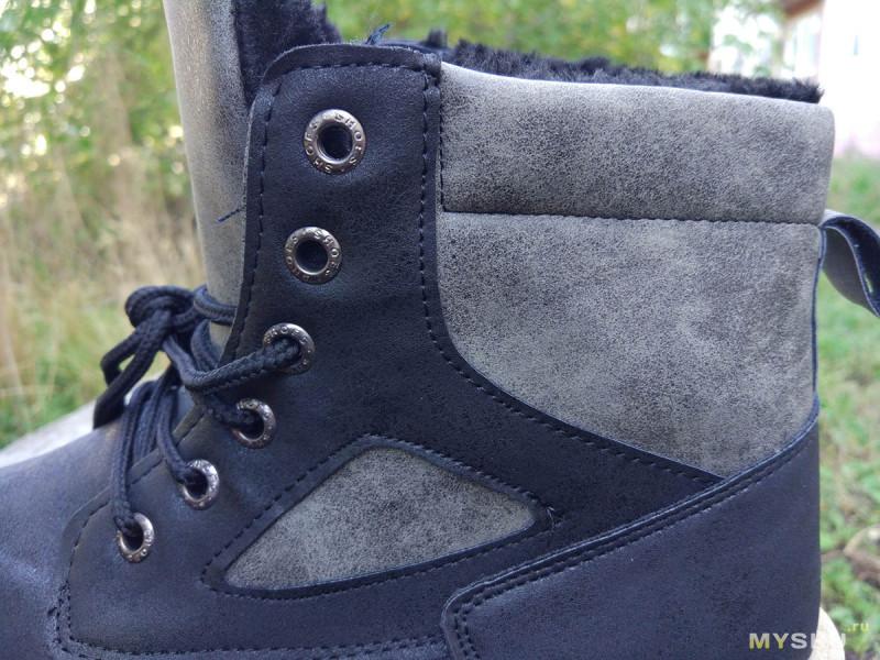 Черно-серые зимние ботинки