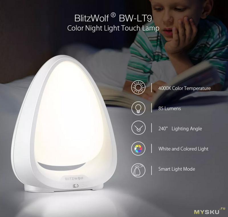 Ночник BlitzWolf BW-LT9  с аккумулятором за - $7.99 ( но доставка в РФ $ 1,26)