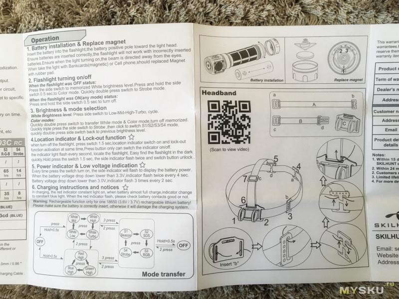 Обзор Skilhunt H03C RC: TIR-оптика, RGBW светодиод, беспроводная зарядка, боковая кнопка и магнит.