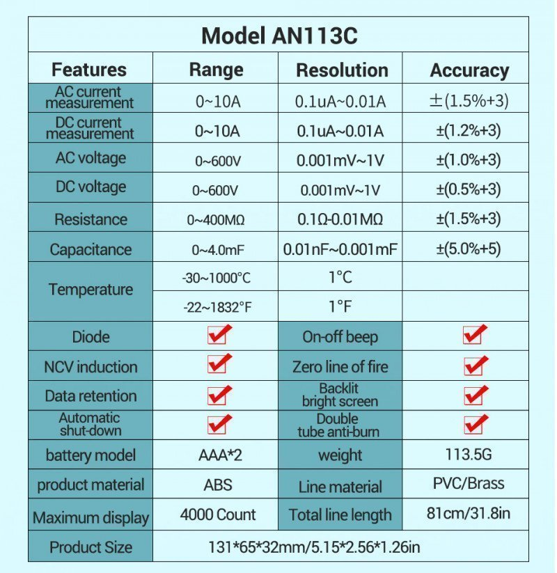 Цифровой мультиметр ANENG AN113C за .99+доставка
