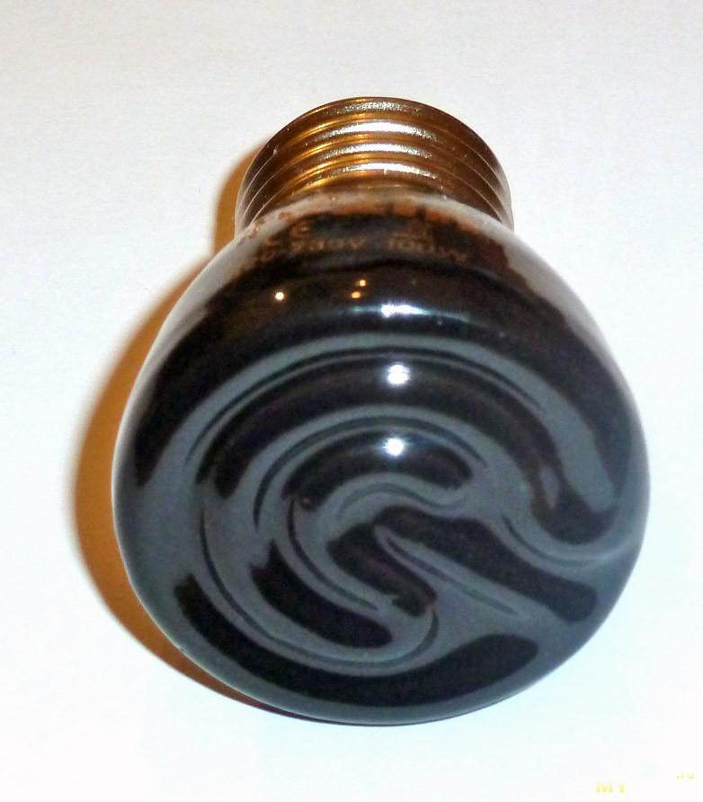 Инфракрасная лампа E27 220V 100W 55x75mm, неудачная