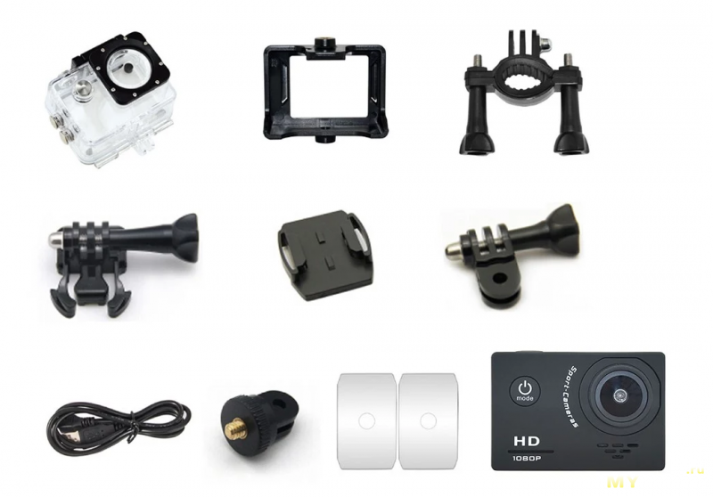Экшен камера AT-03H 1080P с набором доповза 20.99$