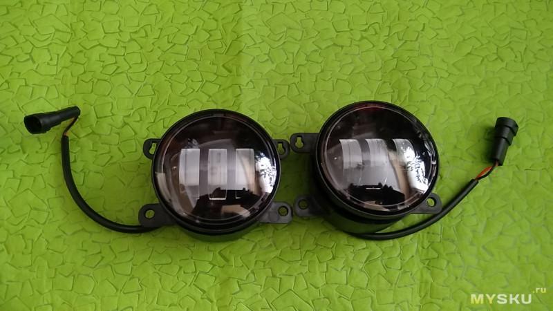 Двухцветные водонепроницаемые противотуманные LED фары 30+30Вт, с четкой СТГ,  для Ford F150 / Honda / Nissan / Subaru / Acura