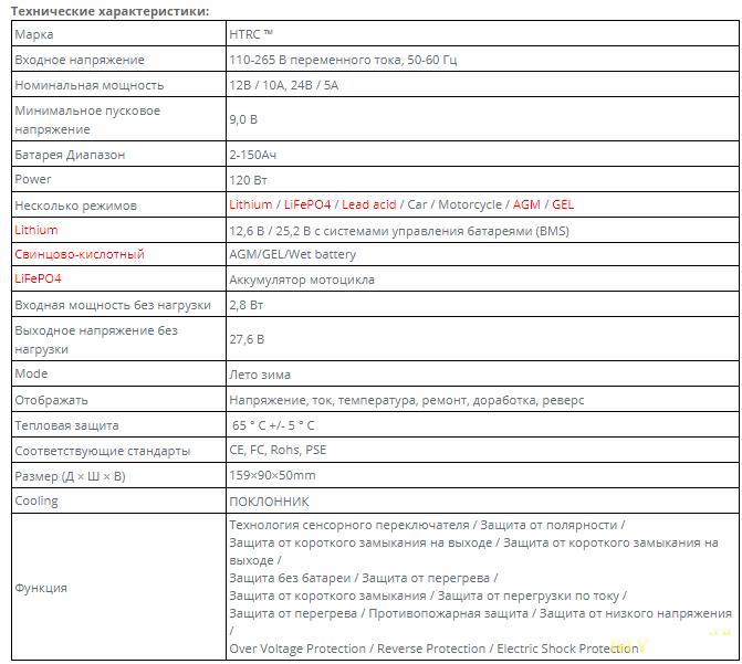 Инверторное зарядное устройство HTRC  для авто/мото аккумуляторов,  12В / 24В и током 10А / 5А , 7-ступеней заряда, режим десульфатации