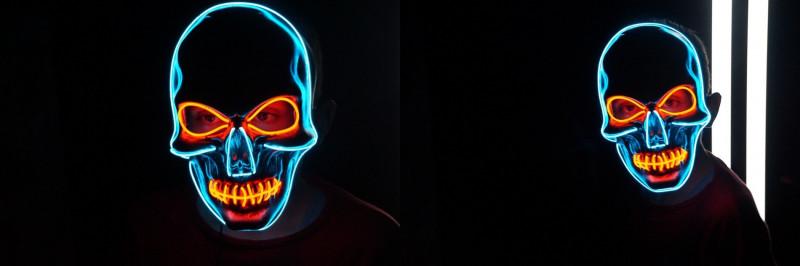 """Карнавальная светящаяся LED маска """"Череп"""""""