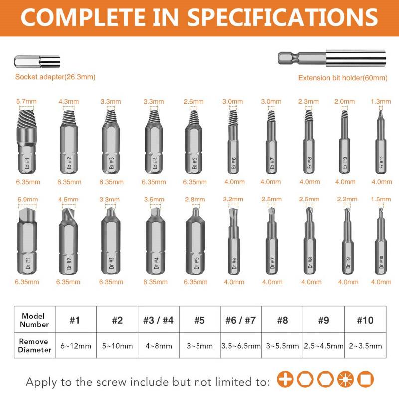 Набор экстракторов болтов/шурупов от DrillPro 22в1 за $10.99