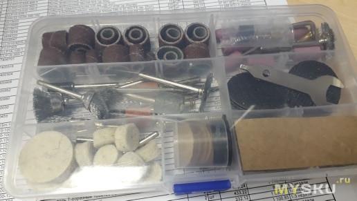 Мини дрель, дремель с гибким валом и  комплектом насадок за 21.5 $ - 1400 руб при доставке с РФ.