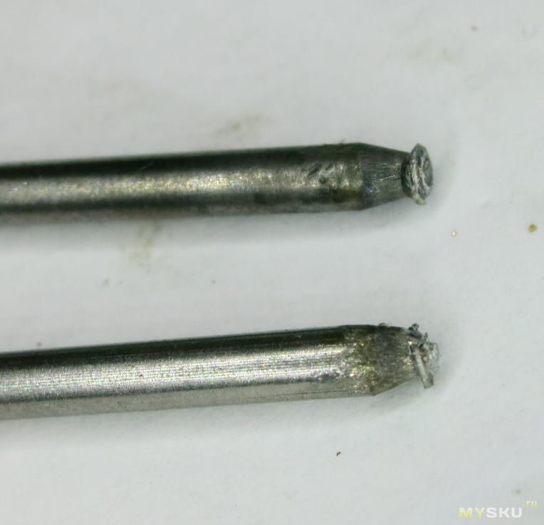 Сравнение двух типов электродов для контактной точечной сварки - из бериллиевой бронзы и из вольфрама WL20