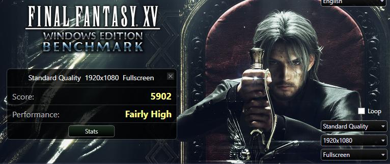 Результаты бенчмарка Final Fantasy XV при стандартном качестве изображения
