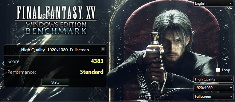 Результаты бенчмарка Final Fantasy XV при высоком качестве изображения