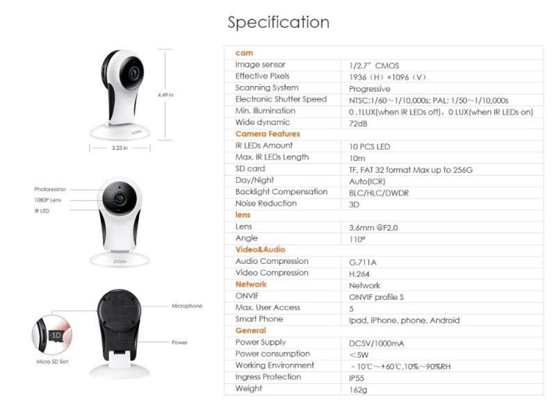 """<span>""""Беспроводная"""" 2Мп IP-камера ZOSI 6122M-W</span>"""