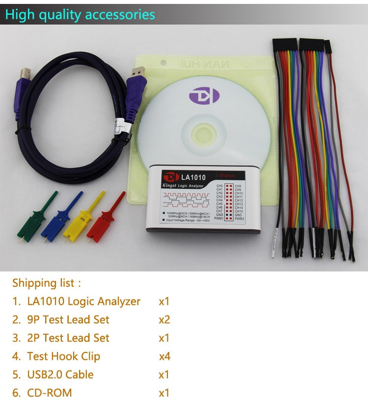 Kingst LA1010 USB Logic Analyzer 100M max sample rate,16 Channels