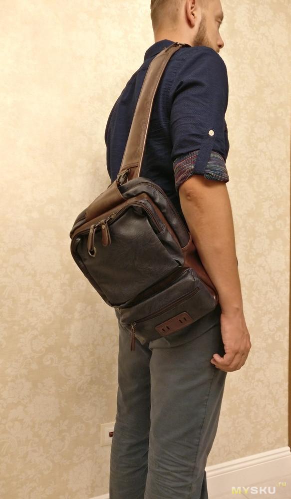 "Мужская сумка ""через плечо"" из PU-кожи в стиле casual."