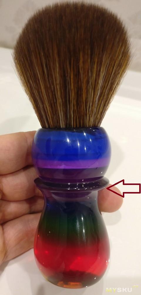 Синтетический помазок Yaqi  с узлом 26 мм - радуга в вашей руке.