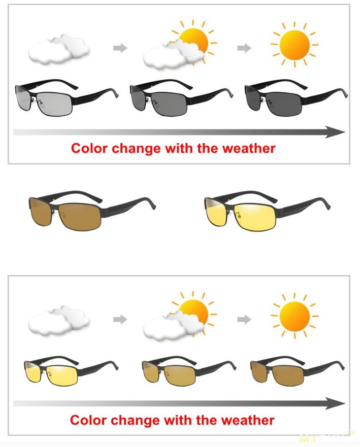 Поляризованные фотохромные солнцезащитные очки за 13,24$