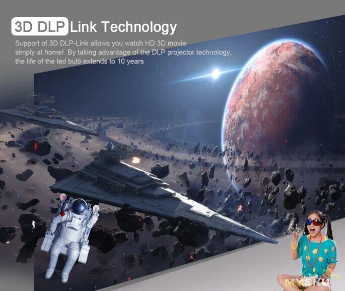 Аккумуляторный 3D DLP-проектор T616 за 263$ - 1/8Gb (280$ - 2/16GB)