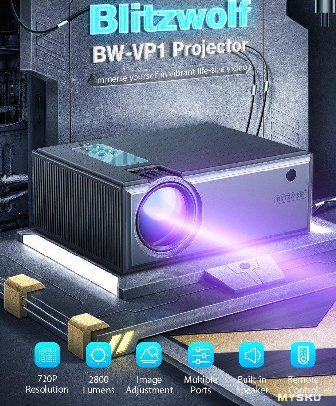 Blitzwolf® BW-VP1 LCD Projector за .99