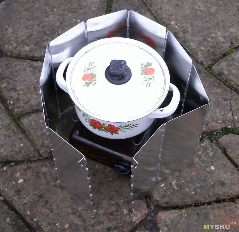 Складной алюминиевый экран (защита переносной газовой печки от ветра)