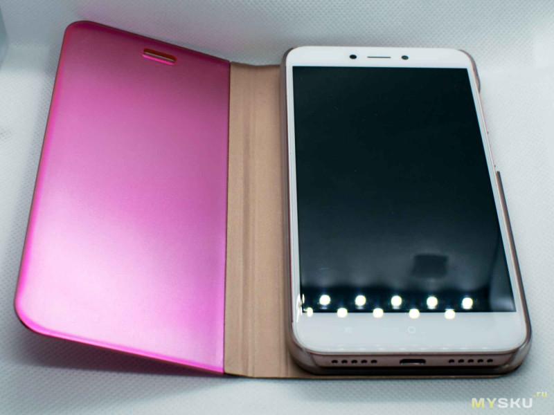 Необычный чехол-книжка с зеркальной крышкой для Xiaomi Redmi 4x