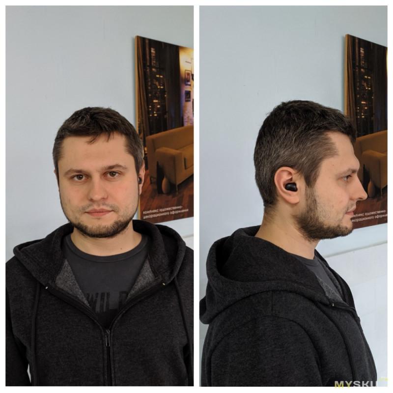 TWS наушники Bluedio T-elf 2. В правое ухо влезает, из левого вылезает. © Сивка-бурка