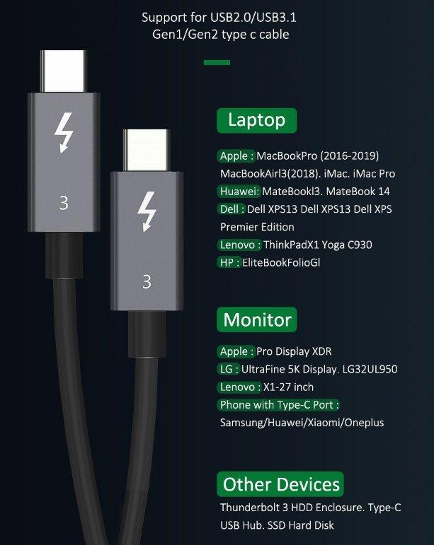 Type-c/USB 3.0 адаптер и Thunderbolt-кабель Cabletime